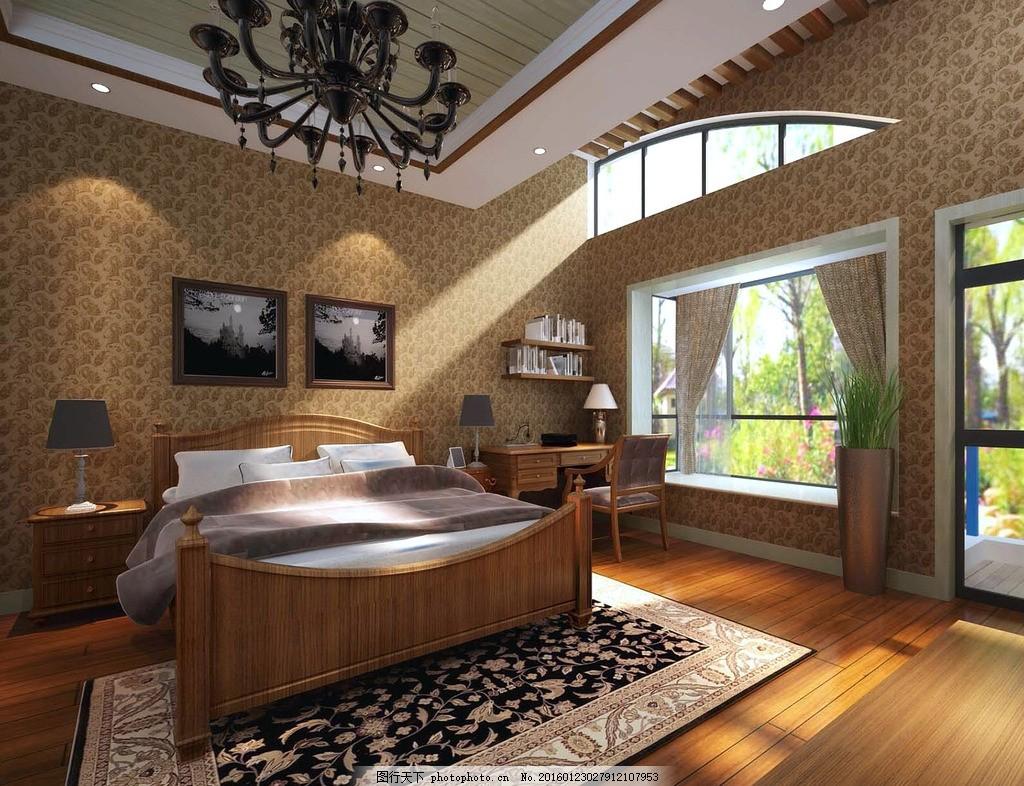 美式卧室效果图 木地板 写字台 飘窗 窗帘 吊灯 防腐木 美式床图片