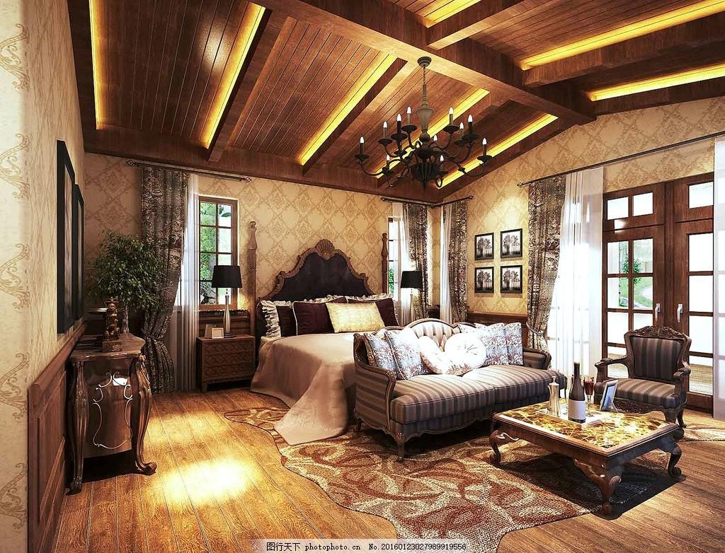 卧室效果图 美式卧室 木地板 写字台 飘窗 窗帘 吊灯 防腐木图片