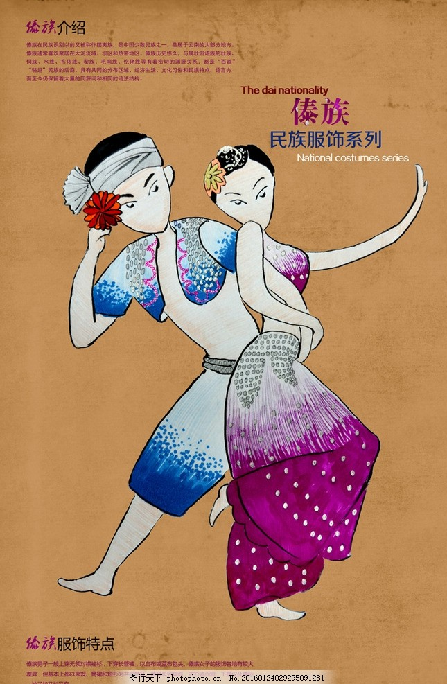傣族 民族 服饰 文化 招贴 手绘 民族招贴