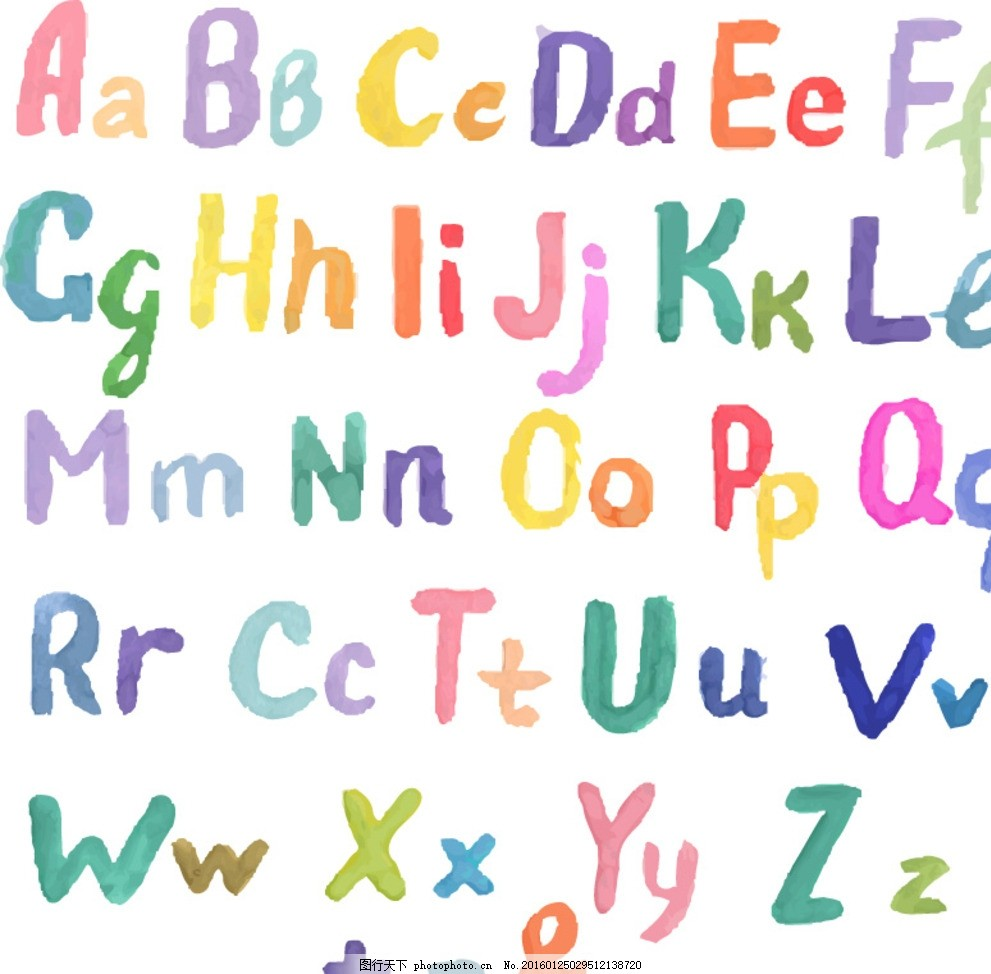 字母设计 手绘字母 彩色字母 26个英文字 大小写 字母标识 拼音 创意