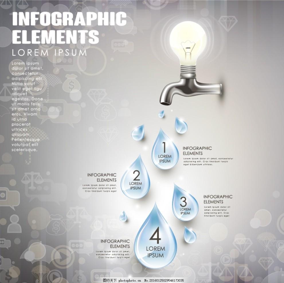 水龙头水滴商务信息图图片