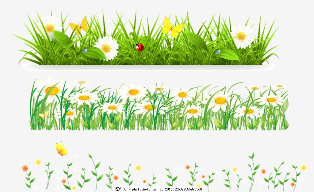 卡通矢量花草 手绘素材 矢量花朵 矢量素材 各种花朵 花藤 盛开