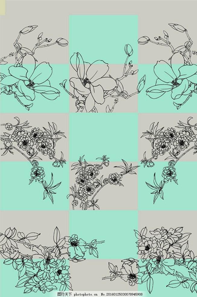 线描古典花朵 装饰花纹 花卉 玉兰花 花枝 枝叶 牡丹 矢量 下载