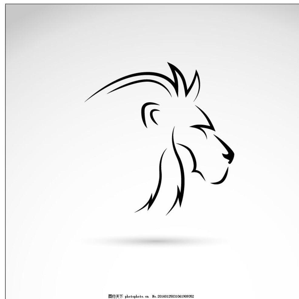 手绘狮子头 狮头 雄狮 矢量 动物主题 野生动物 生物世界 最新矢量