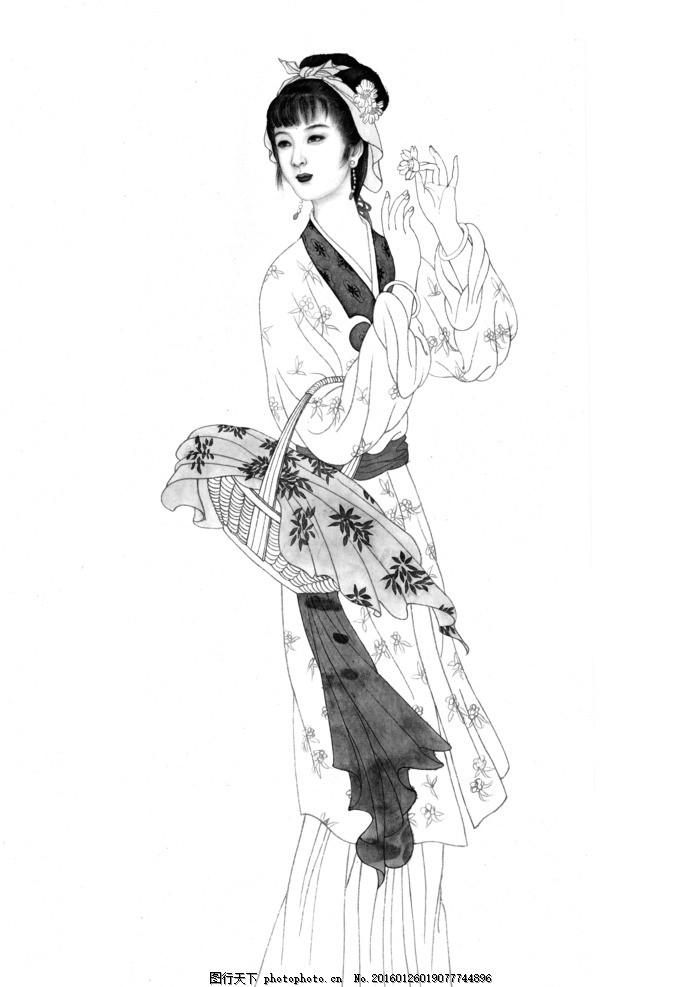 国画 工笔 仕女图 灰图 古代人物 国画仕女图 设计 文化艺术 绘画书法