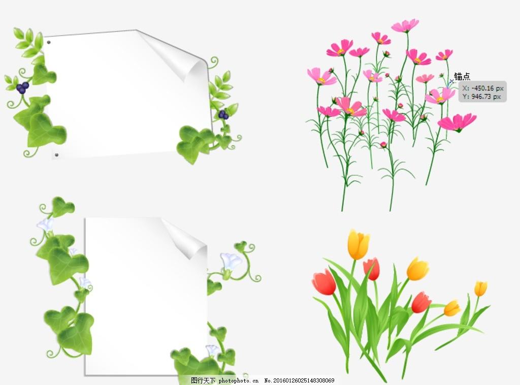 爬山虎藤 矢量花朵 矢量素材 素材 花藤绿叶 花朵素材 手绘花朵 矢量