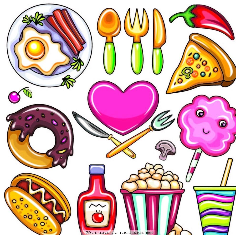卡通食物矢量图 棉花糖 番茄酱 热狗 甜甜圈 早餐 鸡蛋 辣椒