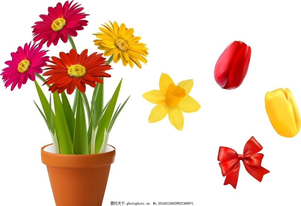 蝴蝶结 装饰 插画 鲜花盆栽 花瓶 鲜花 花盆 花朵 花卉 矢量鲜花 可爱