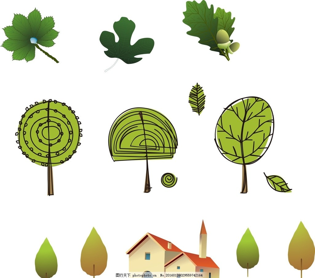 树木 房子 树叶 卡通素材 可爱 手绘素材 儿童素材 幼儿园素材