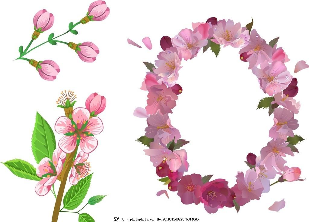 矢量桃花 花朵花环 花卉 手绘花朵素材 矢量花朵 矢量素材 素材 盛开