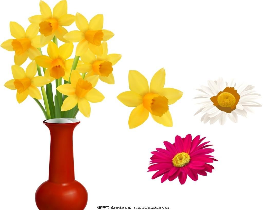 花瓶 鲜花 花盆 花朵 花卉 矢量鲜花 可爱花朵 可爱 卡通 手绘 绚丽