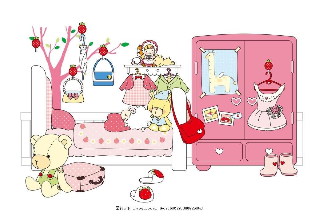 温馨可爱卡通家居下载 卡通家居图片 儿童房 小卧室素材 温馨的房间
