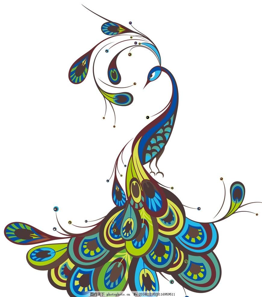 矢量孔雀 孔雀插画 动物插画 唯美插画 唯美动物 其他图标