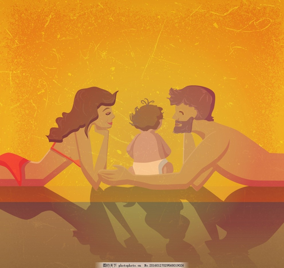卡通三口之家 孩子 夫妻 幸福家庭 全家福