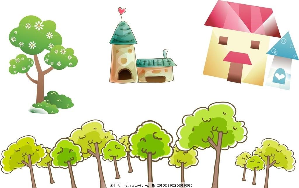 手绘树木 房子 卡通素材 矢量 抽象设计 可爱卡通 矢量素材 卡通小