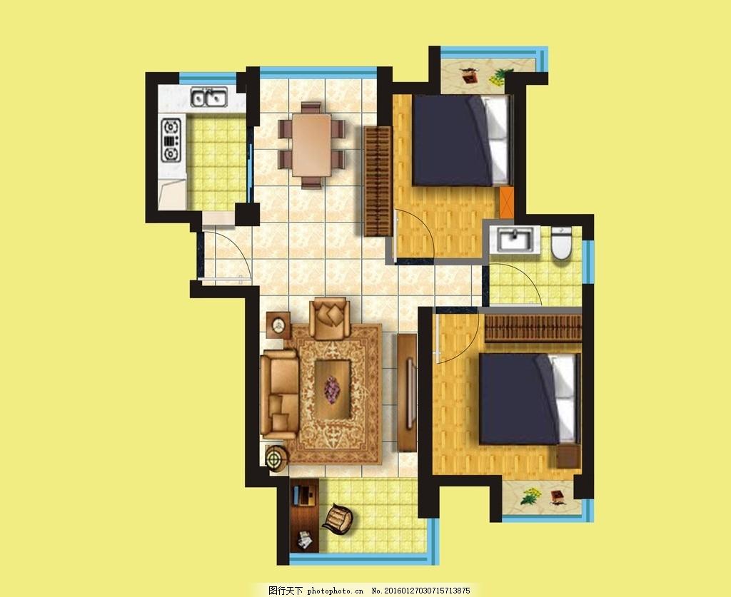 俯视房型图 立体 阴影 彩色 效果图 原创 室内广告设计