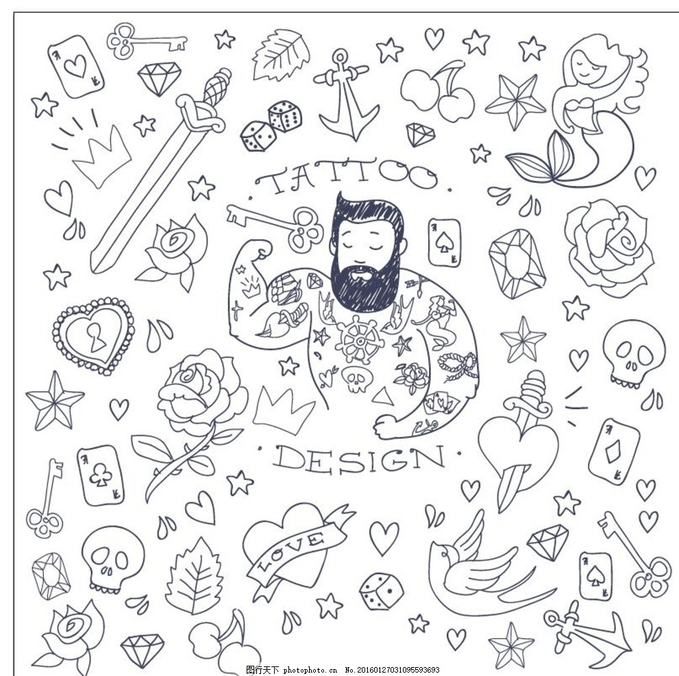 纹身 手绘 小狗 图腾 花纹 纹样 手绘纹身图案 花边 生物世界