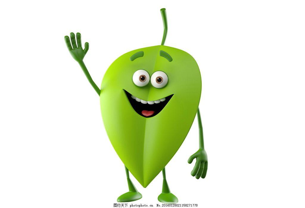 设计 表情 笑容 微笑 招手 挥手 树叶 叶子 绿叶 绿色 小人 动物 立体