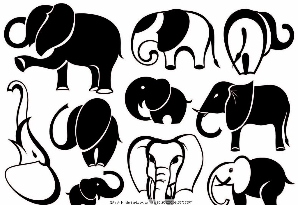 大象 剪影 线描 图标 矢量图 设计 设计 生物世界 野生动物 eps