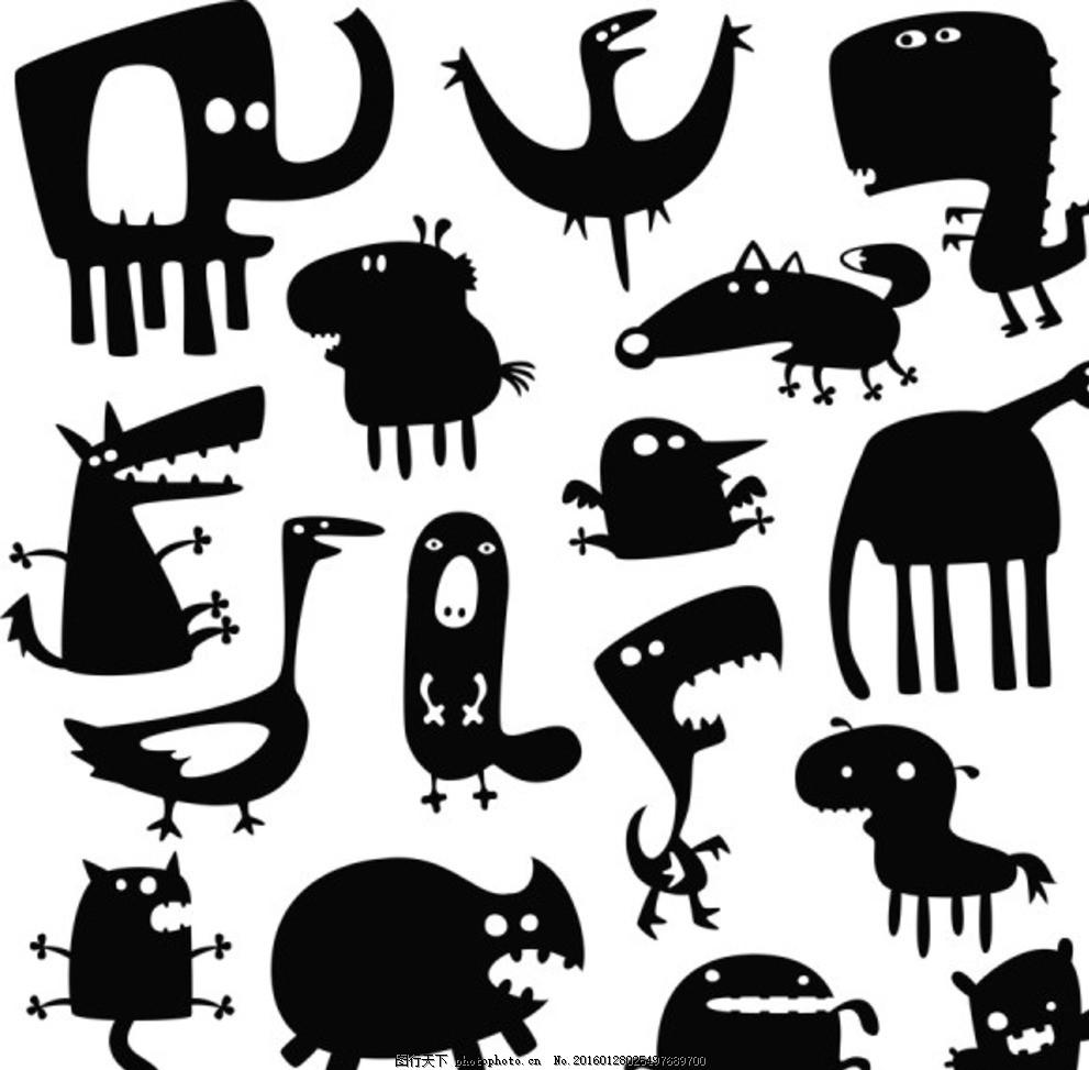 可爱动物剪影图标