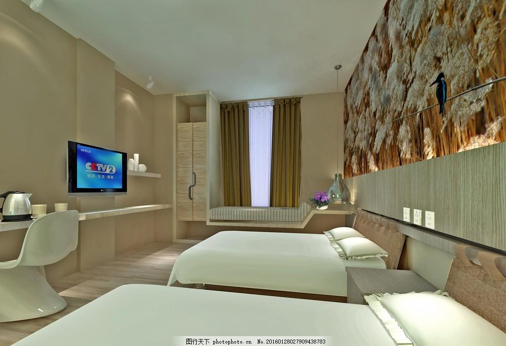客房效果图             酒店 宾馆 渲染 3d max 立体图 房间 设计
