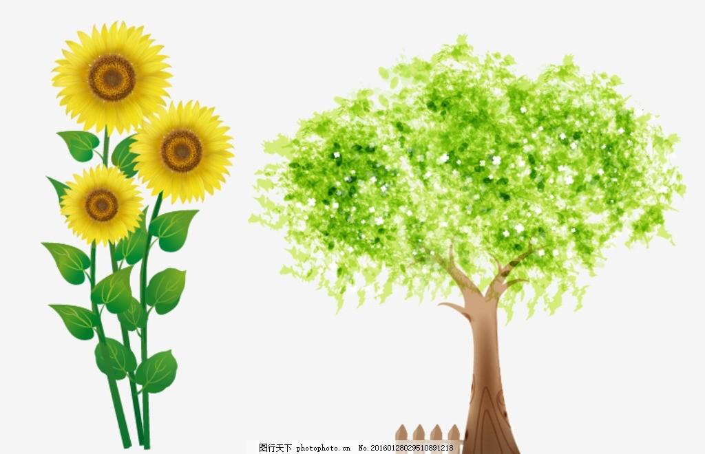 手绘树木 向日葵