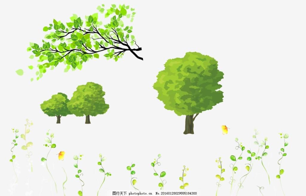 树叶 树木 卡通树藤 卡通素材 手绘素材 儿童素材 卡通装饰素材