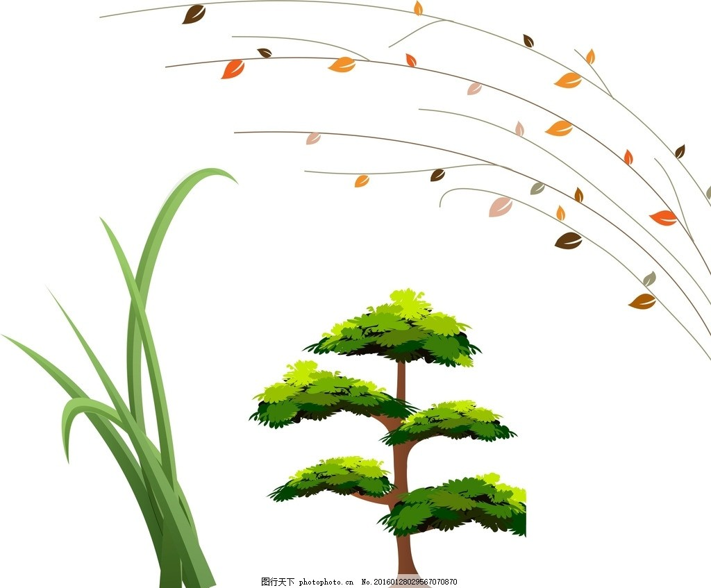 绿色小草 树叶 手绘树叶 唯美树叶 树叶素材 矢量树叶素材 飞舞的树叶