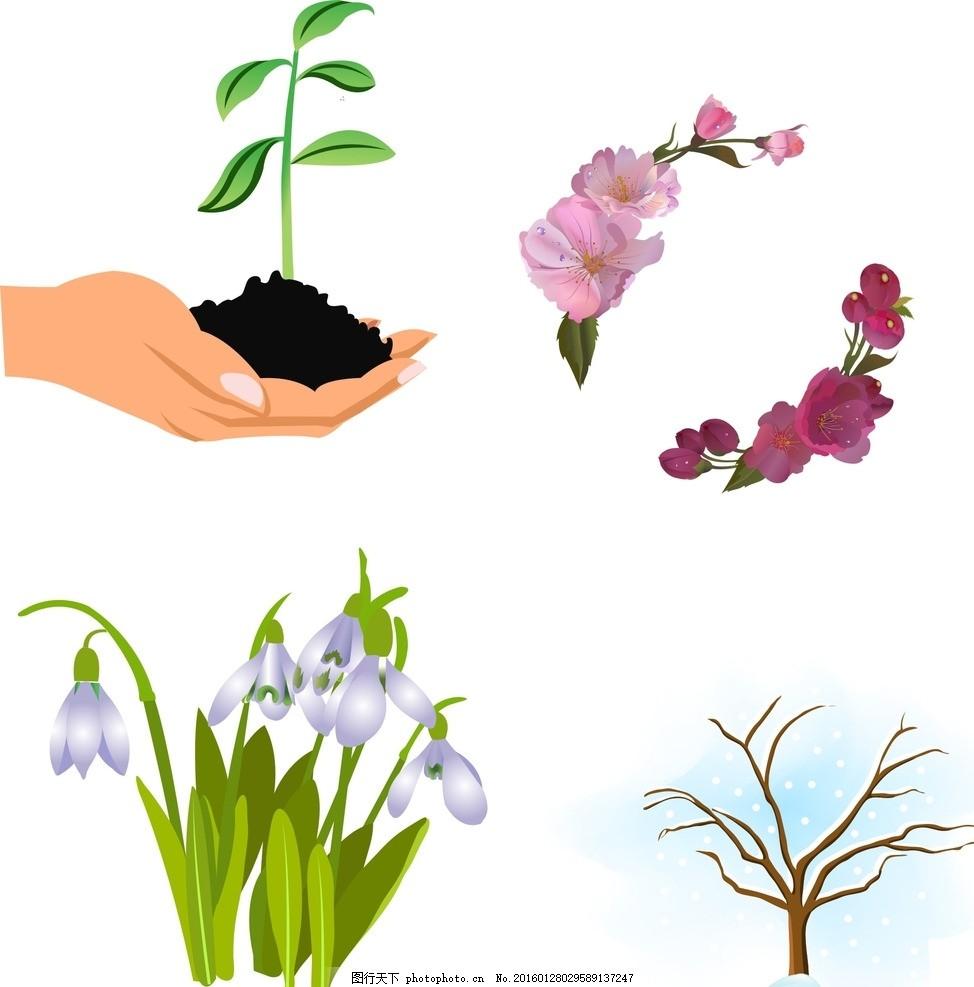 兰花 鲜花花藤 手绘花朵素材 矢量花朵 矢量素材 素材 花藤 绿叶 叶子