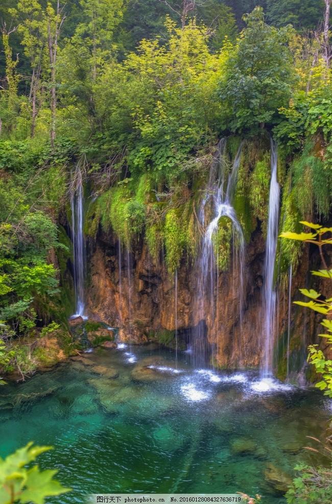 瀑布 水潭 流水 公园 自然水景 水景观 大自然 生态 纯净水
