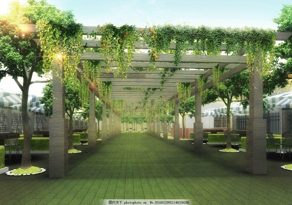 春天 室外透视 效果图 春意盎然 绿化砖 棚架