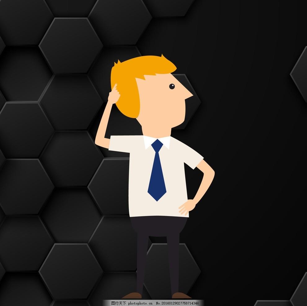 领带 衬衣 短袖衬衣 卡通人物 商务 商务男士 商务男人 商务背景 黑色