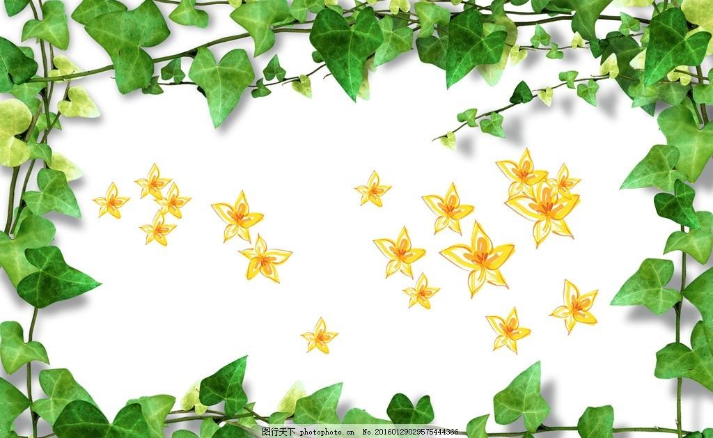 爬山虎藤 树藤 树叶边框 植物 春天 绿树 春天树叶 清新 绿色