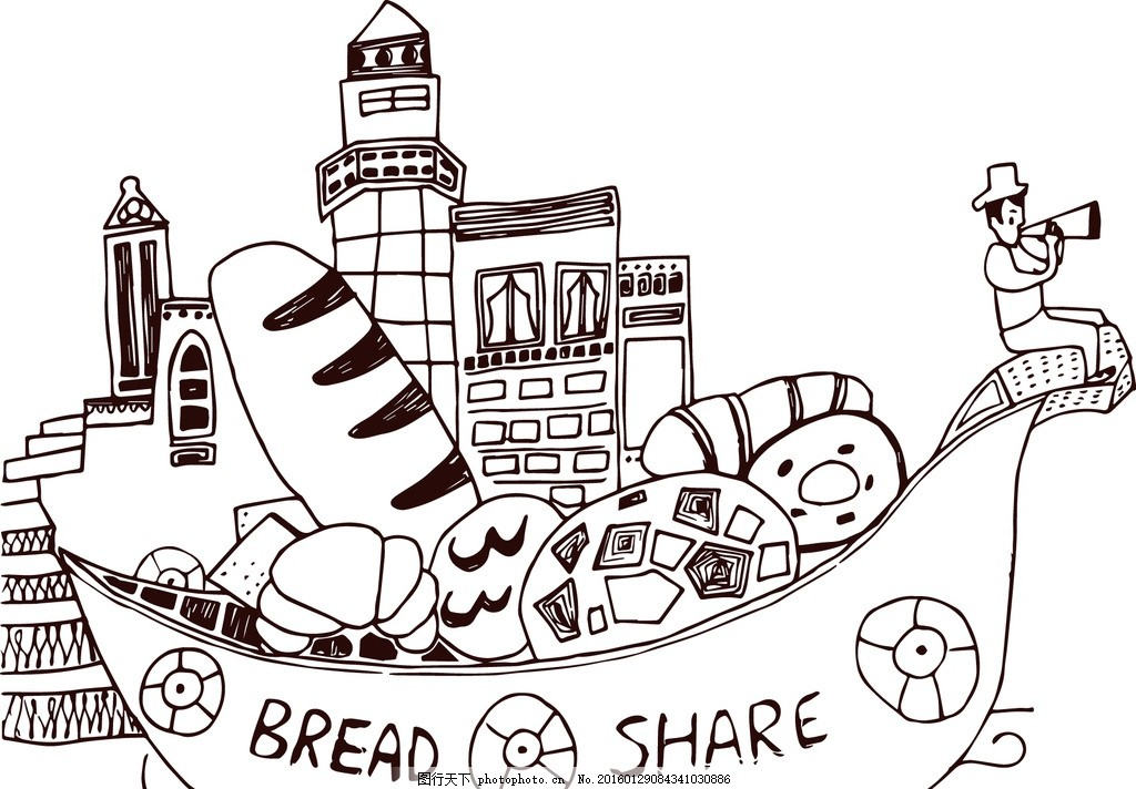 食物船 面包 卡通食物 儿童乐园 广告设计 卡通设计