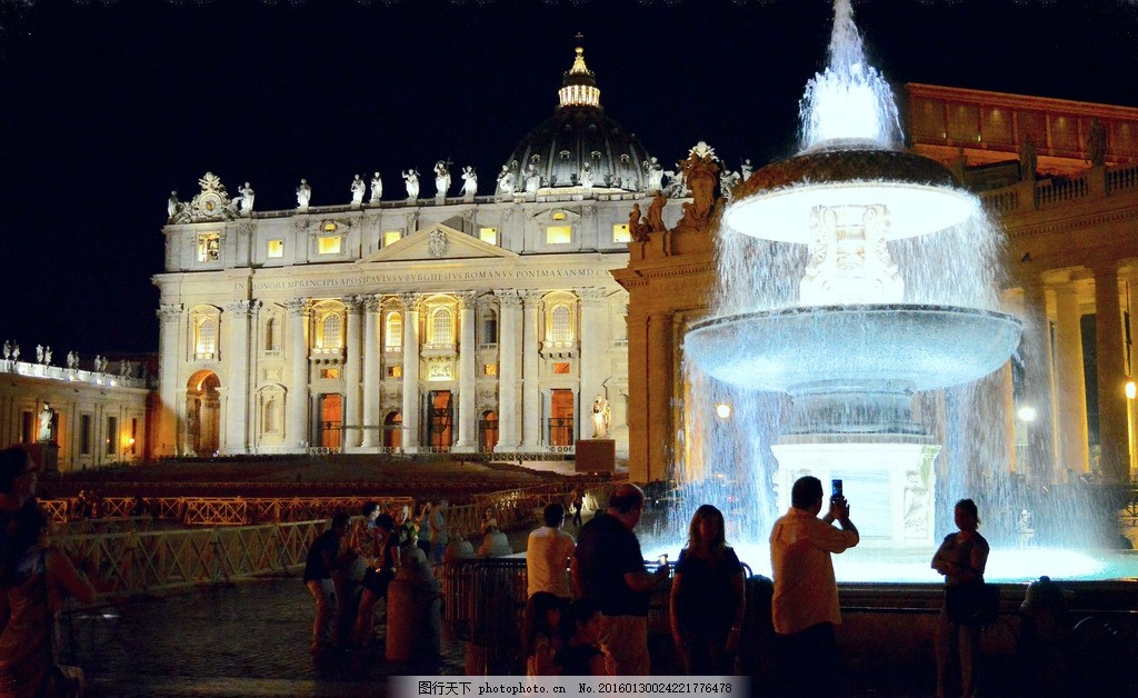 喷泉 夜景 大气喷泉 双层喷泉 欧式喷泉 欧式建筑 摄影 自然景观 建筑