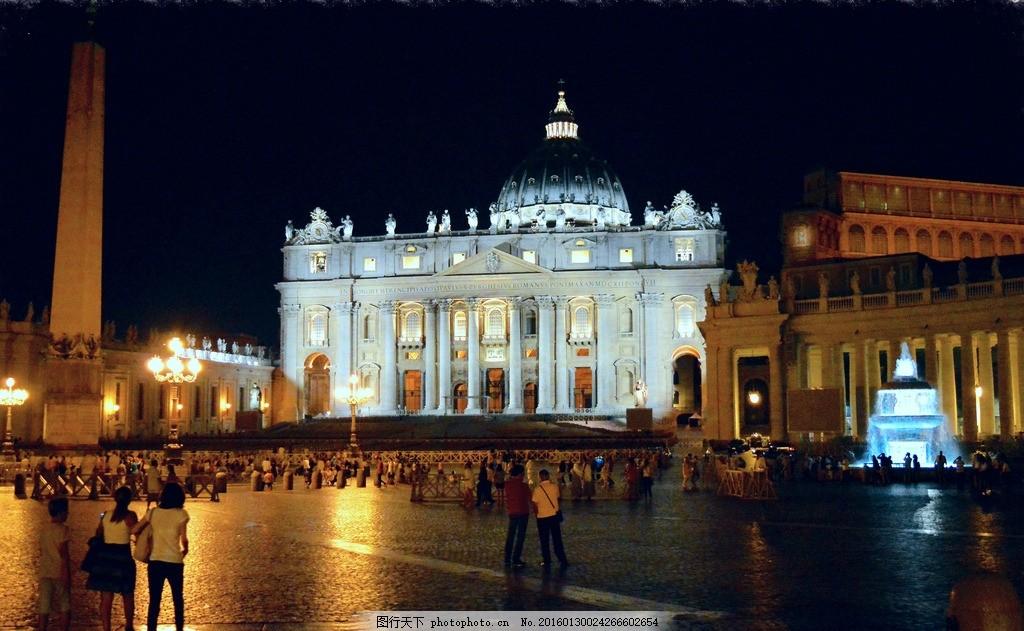 欧式教堂 夜景 欧洲城市夜景 喷泉 人群 广场 豪华建筑 教堂 教堂亮化