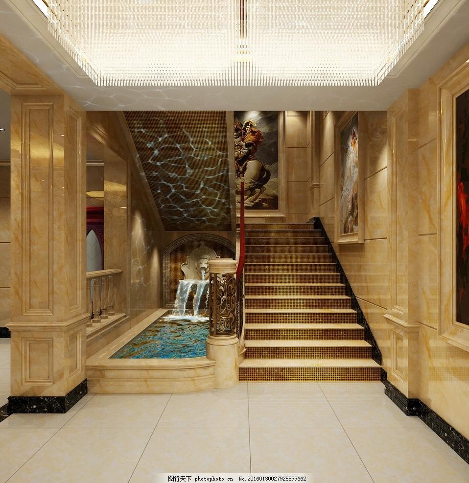 楼梯间水景效果图 楼梯间 水景 室内 装修        设计 环境设计 室内