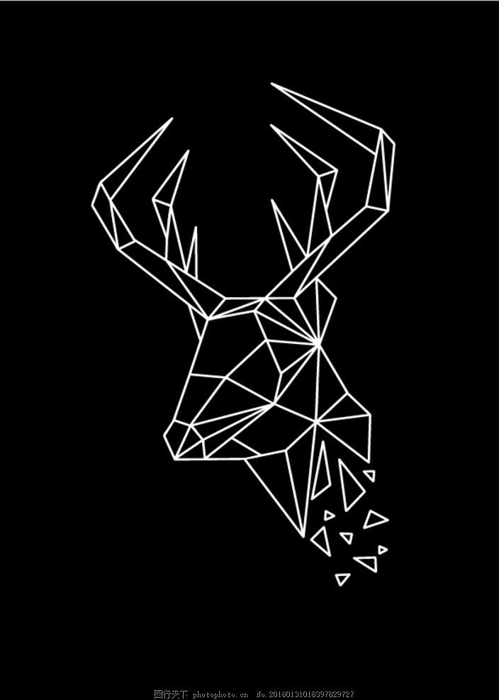 线条描绘 线条动物 鹿