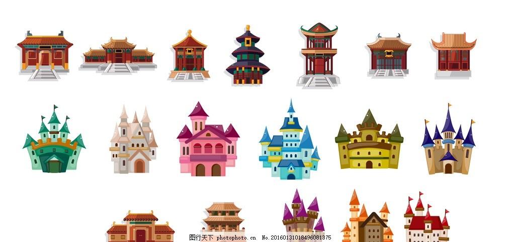 中国建筑 中国古建筑 中国风 中国元素 明清建筑 角楼矢量剪影 传统