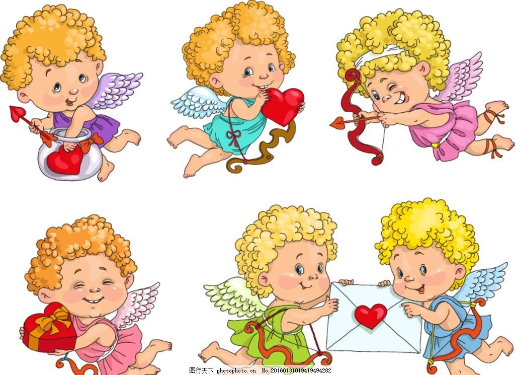 可爱金发天使 可爱 金发天使 天使 爱神 丘比特 射箭 弓箭 信封 信件