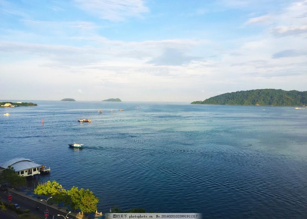 沙巴旅游 马来西亚 生态 蓝天 白云 海船岛 摄影 国外旅游
