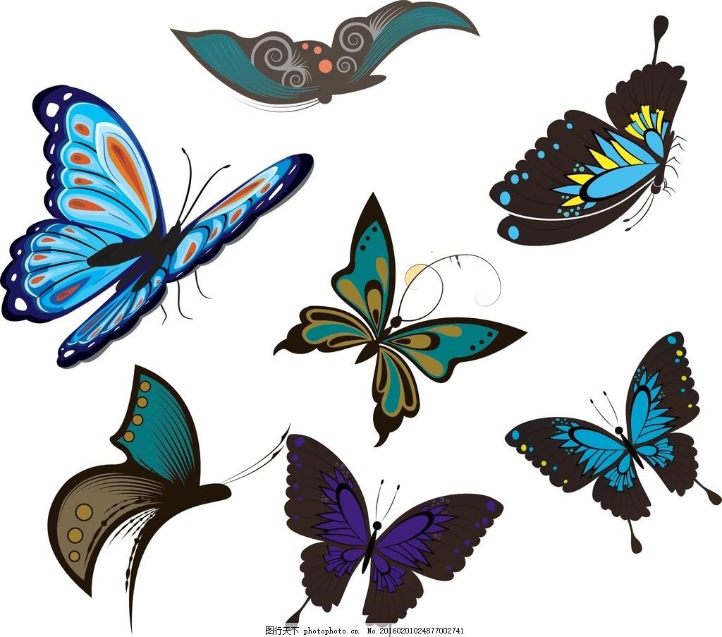 蝴蝶大全 卡通素材 卡通手绘蝴蝶 手绘素材 幼儿园素材 矢量 抽象设计