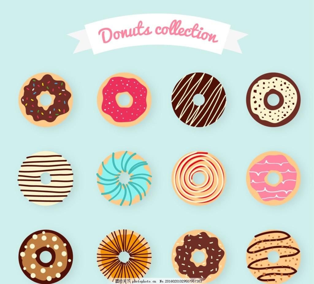 甜甜圈 美味 多拿滋 美食 食物 甜点 甜品 丝带 横幅 条幅