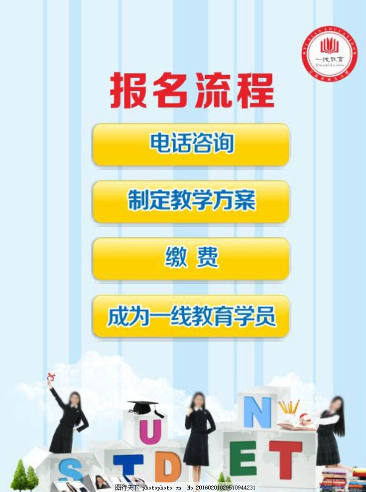 报名流程 新生报到 流程图 蓝色背景 展板 学校宣传 张艳玲 设计 广告
