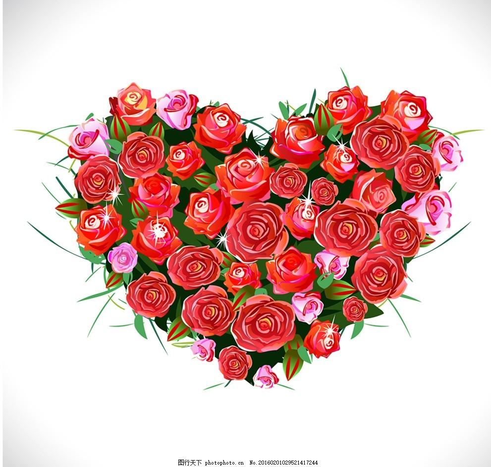 爱心圈玫瑰,手绘玫瑰 花 精美边款 底纹 花朵 花底纹