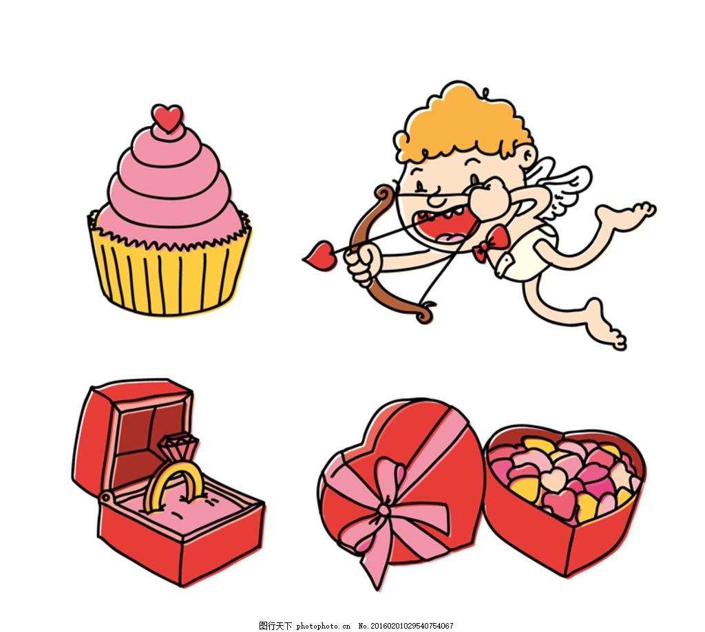 情人节元素 丘比特 情人节 纸杯蛋糕 天使 戒指 爱心 糖果 巧克力