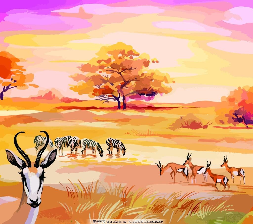 秋天的草原 水彩画 动物 漫画 插画 广告设计 卡通设计