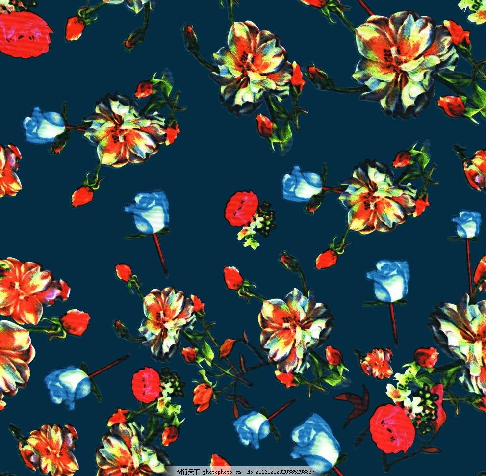 蓝底牡丹花 碎花 回位 无限拼接 高清印花 花 设计 底纹边框 花边花纹