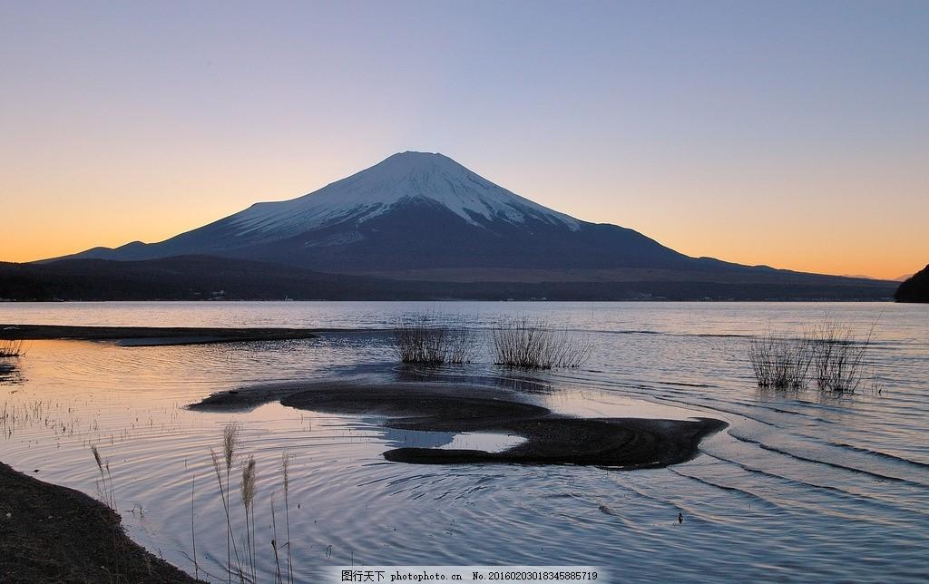 富士山 日本 落日 倒影 冬天 雪山 火山 摄影 自然景观 山水风景