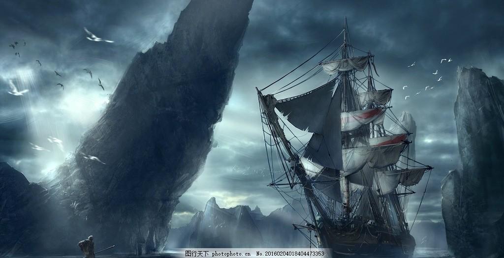 幽冥号 船 风景绘画 手绘 黑暗 动漫动画